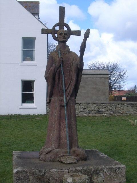 Lindisfarne Priory - statue of St Aidan