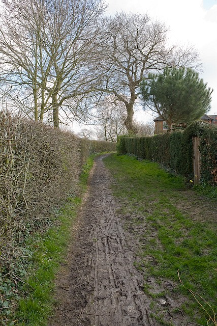 Rather muddy footpath from Cemetery Lane to Park Road, Denmead