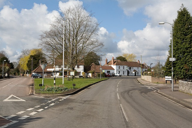 Road junction at White Hart pub, Denmead
