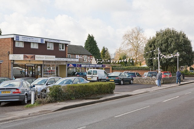 Shops and car sales opposite Denmead Health Centre