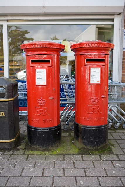 Pillar boxes outside the Co-op in Denmead