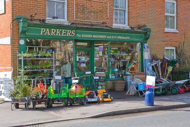 Shop front of Parkers garden machinery and DIY shop, Denmead