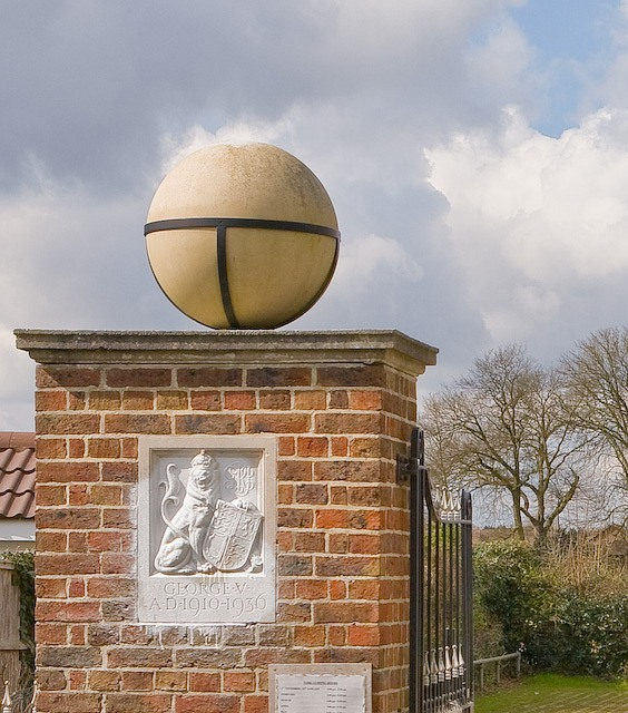 Detail of entrance to King George's Field, Denmead