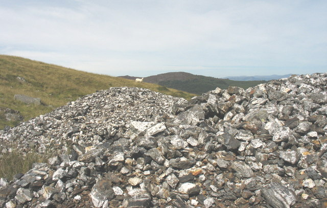 Spoil tip at the Cefn Coch Gold Mine