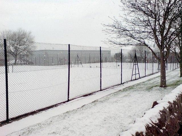 Snow on the tennis courts