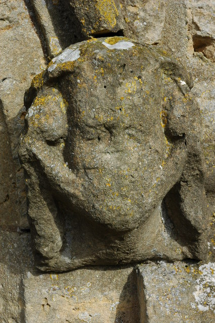 Weathered Head, Great Comberton Church