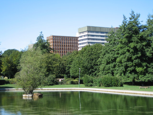 Park pond & Office Blocks