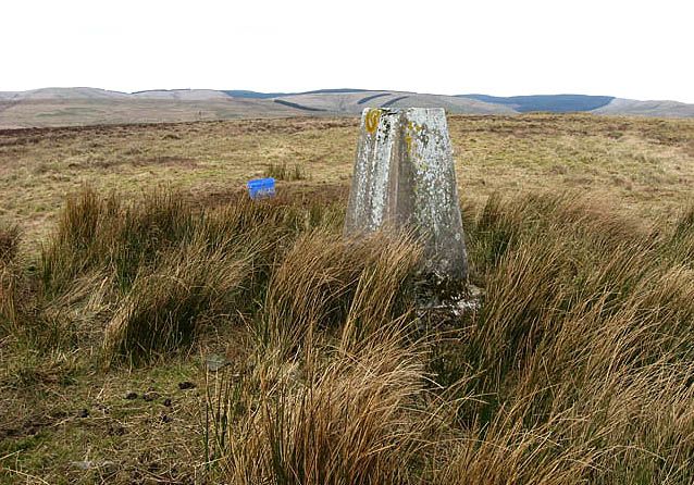 The trig point on Collin Hags