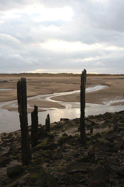 Old mooring posts at Pembrey