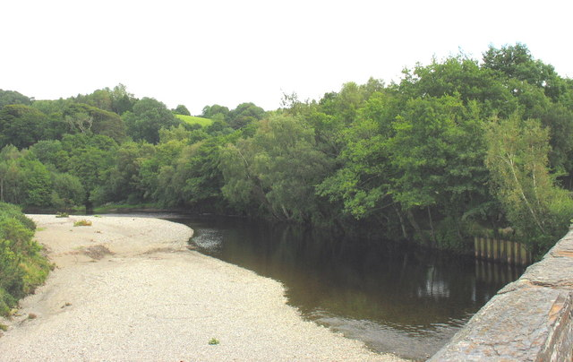 Another view of the point bar below Llanelltyd's Old Bridge