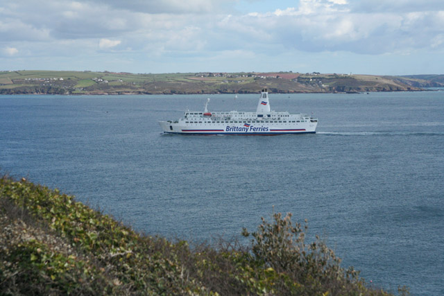 The Roscoff ferry passing Heybrook Bay