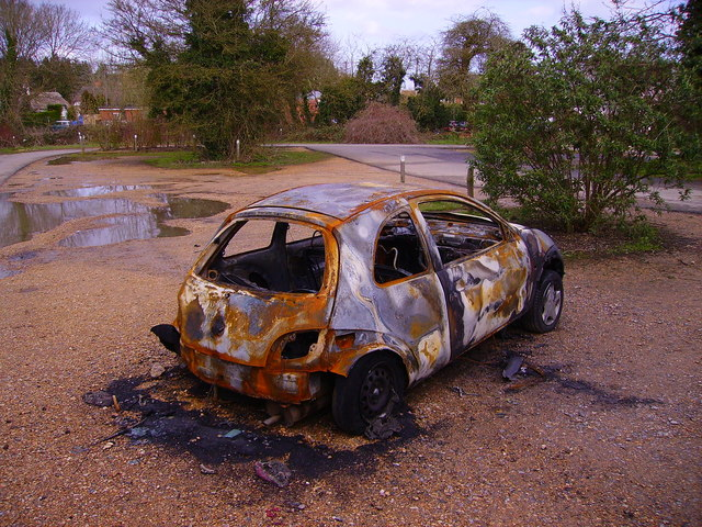 Andover - Burnt Out Car