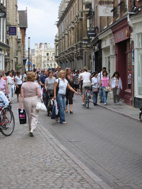 A busy Trinity Street