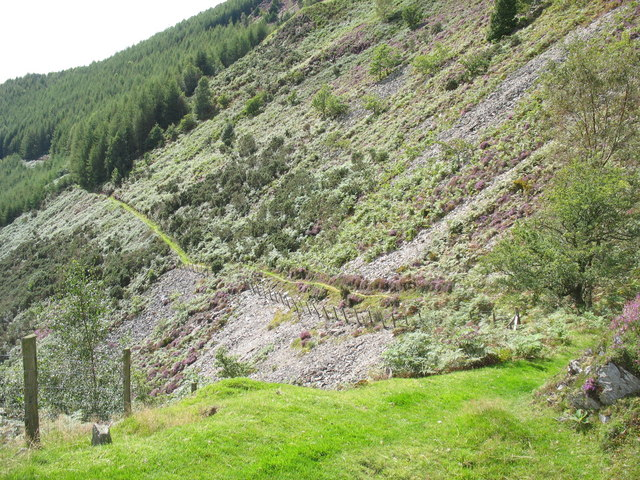 Path on the steep hillside above Maes-mawr