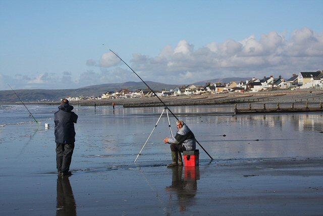 Anglers on Borth beach