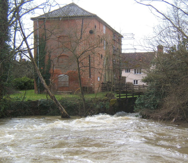Sproughton Mill and the River Gipping in full flow