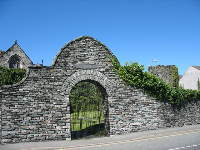Arched gate from the A5 to the cemetery garden of St Cybi's church