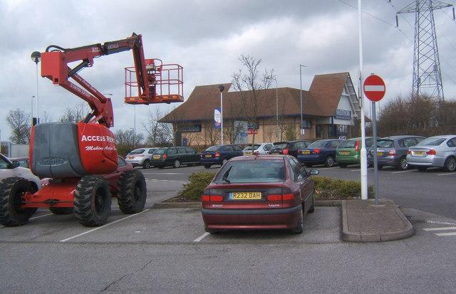 Supermarket carpark and furniture store
