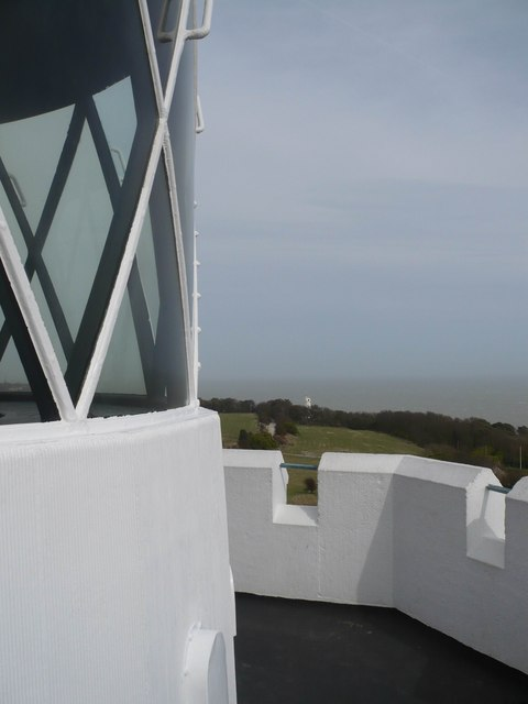 Looking towards the windmill from the top of the  South Foreland Lighthouse