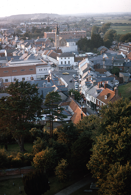 Christchurch town centre from the Priory tower