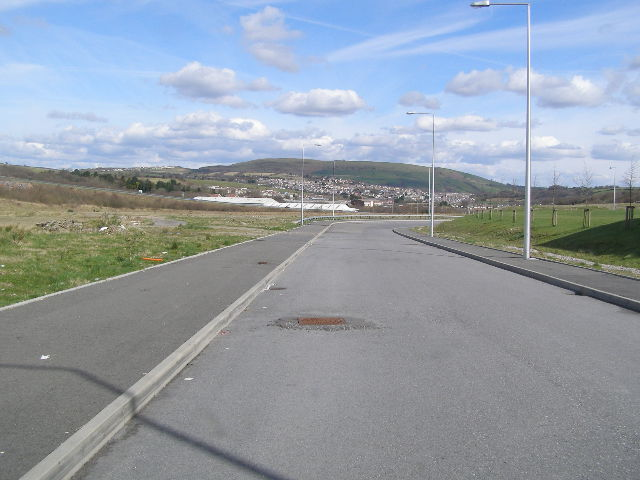View of Tonyrefail from a new factory access road