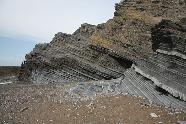 Tilted rock strata