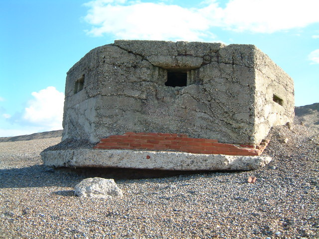 WW2 Pillbox on shingle beach at Kelling Hard