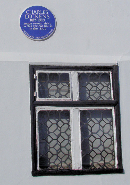 Charles Dickens Blue Plaque, Borough Lane, Eastbourne, East Sussex