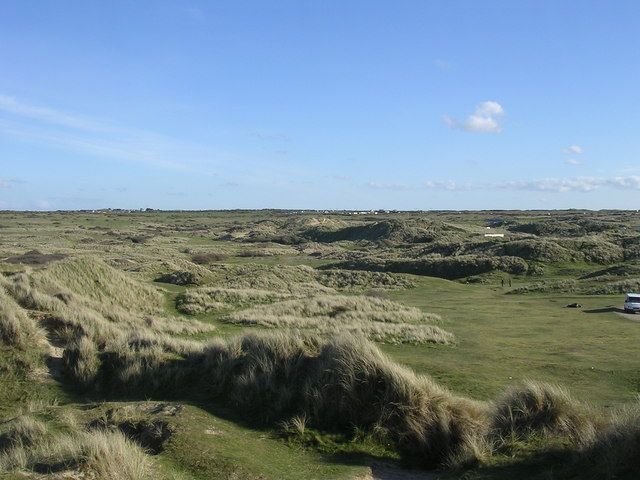 Grass covered dunes at Perran Sands