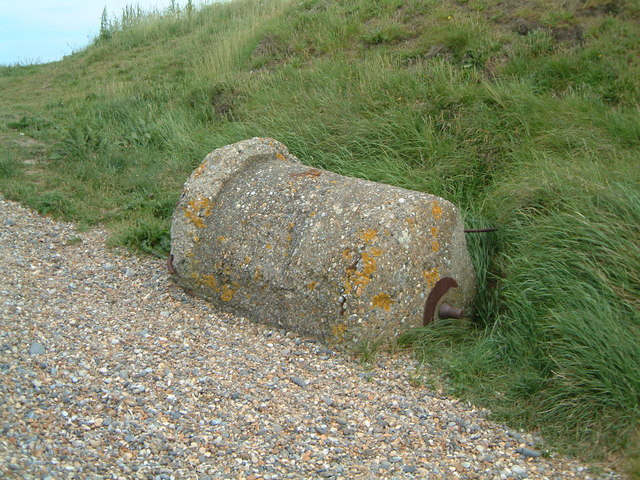 WW2 Spigot mortar Base on top of shingle bank