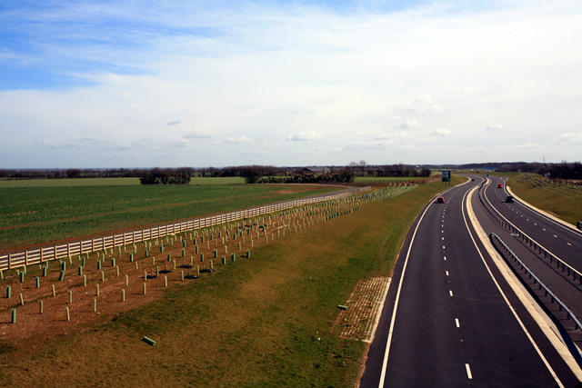 Looking east along new dual-carriageway stretch of A428