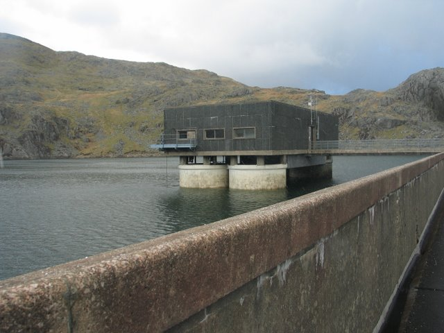 The twin water intake tower buildings