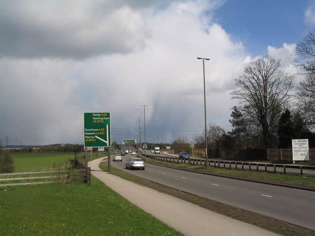 A453, with foot and cycle path, leaving Clifton for Nottingham
