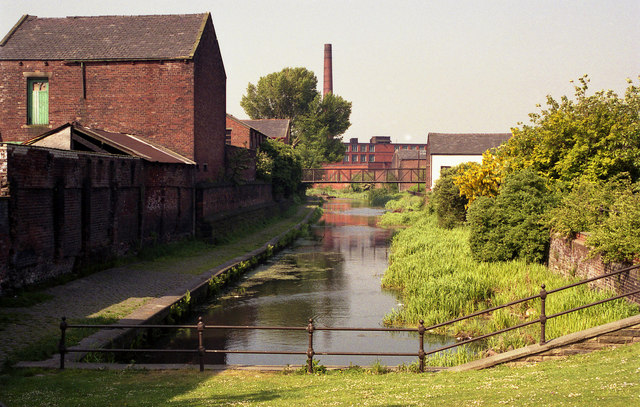 Manchester Bolton and Bury Canal:  looking south from Water Street bridge, Radcliffe