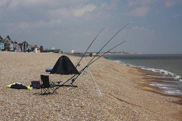 Fishing on Aldeburgh beach