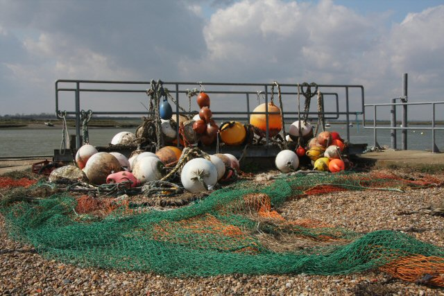Floats and nets on Slaughden Quay