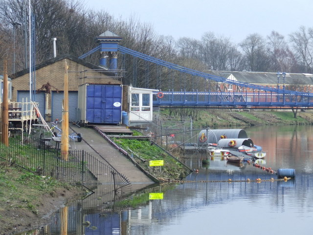 Boathouse and suspension bridge