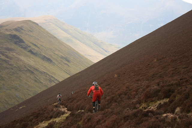 Mountain Bikers Descending From the Scar Crags Ridge into Sail Beck