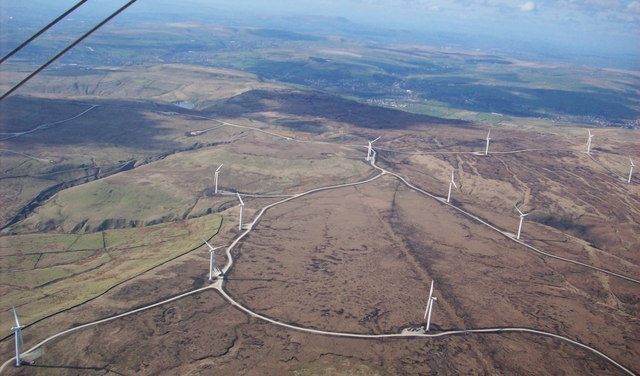 Aerial View of Scout Moor Wind Farm