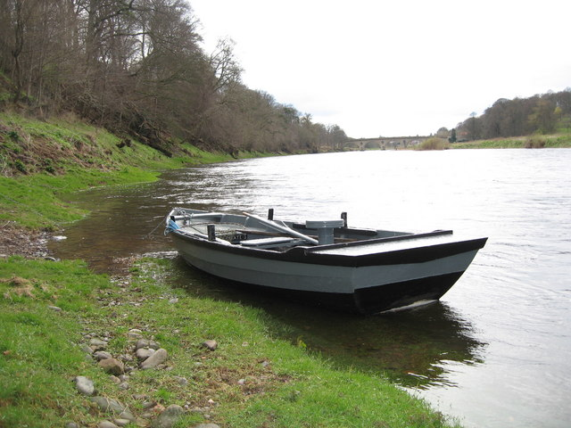 River Tweed with Estate fishing boat