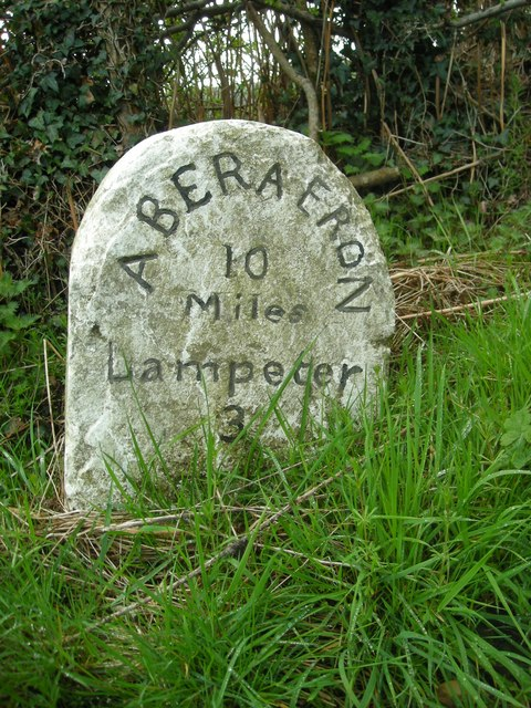 Milestone on the Aberaeron road