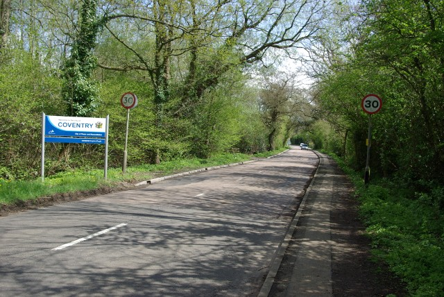 The boundary of Coventry on Duggins Lane