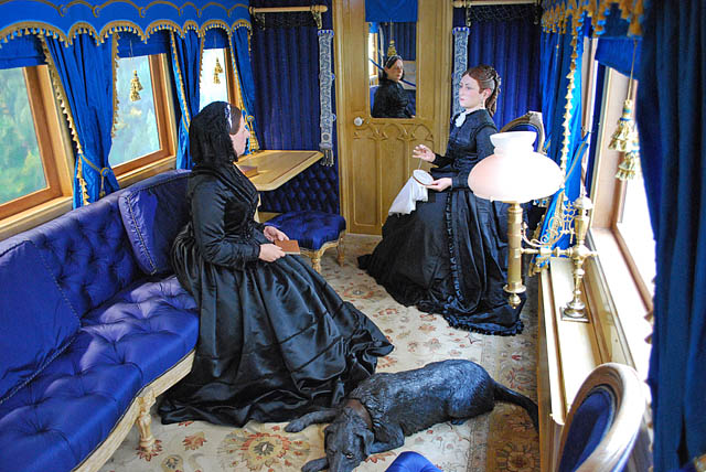 Ballater station - the interior of the Victorian railway saloon carriage