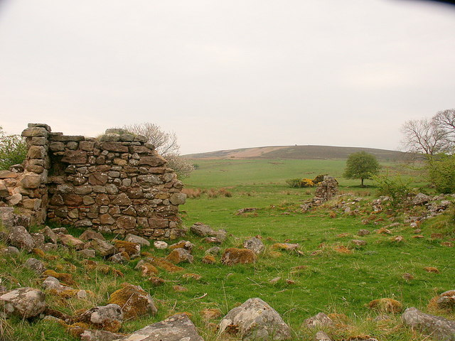 Ruins of Lucker Moor House looking towards the Longstone