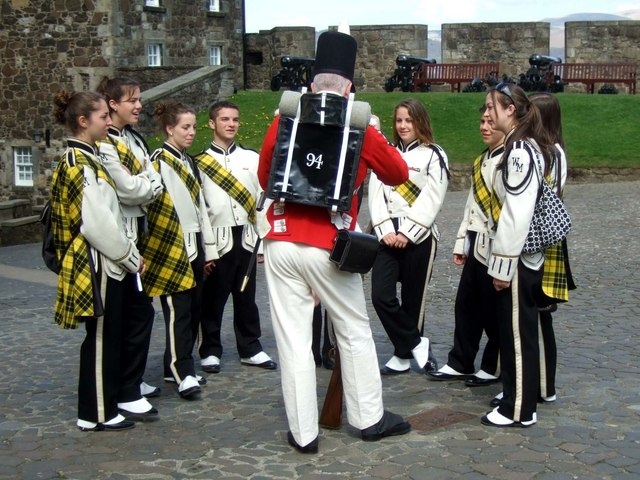 A soldier talks to the band at Stirling Castle