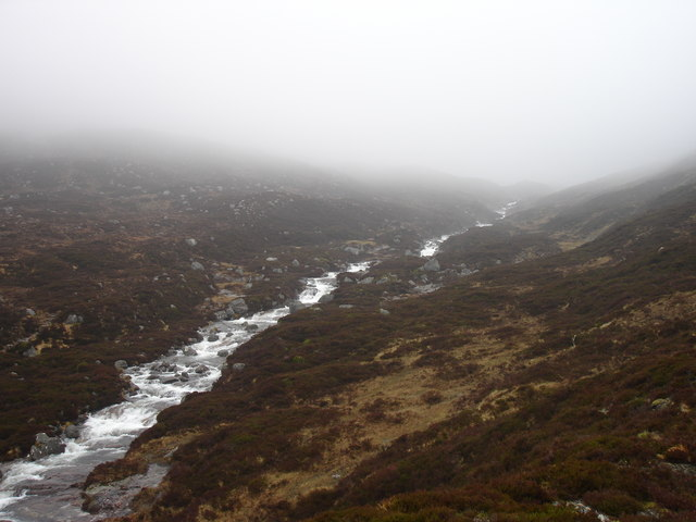 The Geusachan Burn in the upper part of Glen Geusachan