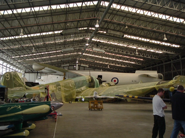 Junkers Ju-52 and Short Sunderland in shop at Duxford