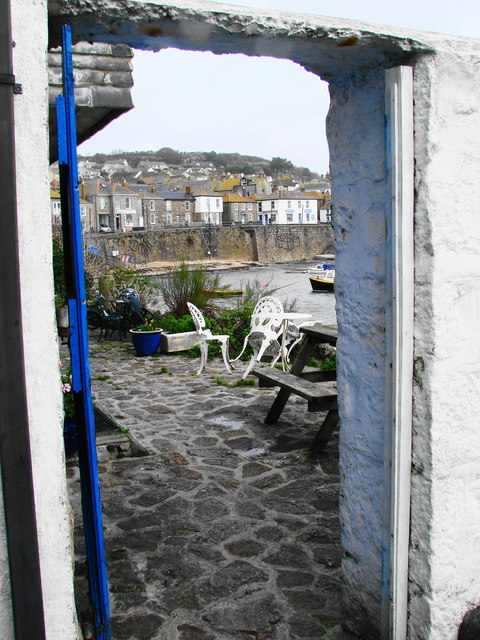 Mousehole, patio on the harbour
