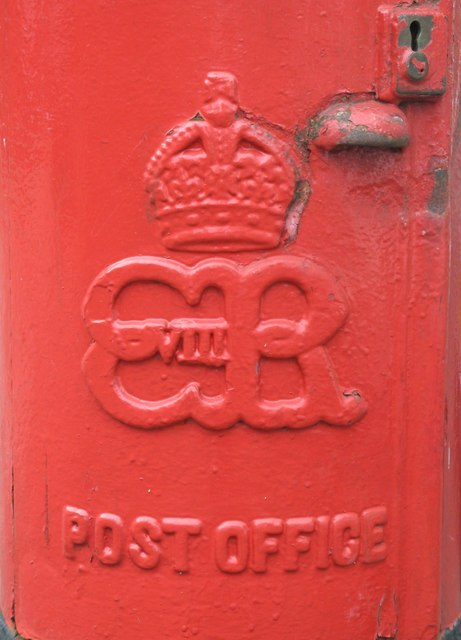 Edward VIII postbox, Great North Road, N2 - royal cipher