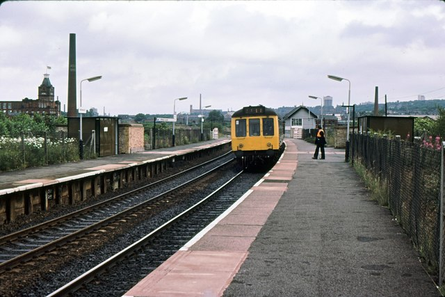 Hollinwood station looking toward Oldham Edge 1979